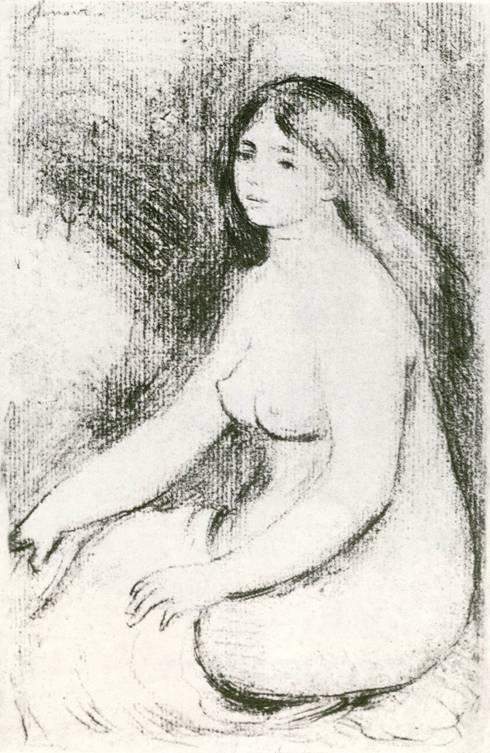 О. Ренуар, «Сидящая купальщица», мягкий лак, в одно травление.