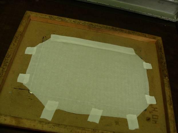 Бумага натянутая по верх офортной пластины