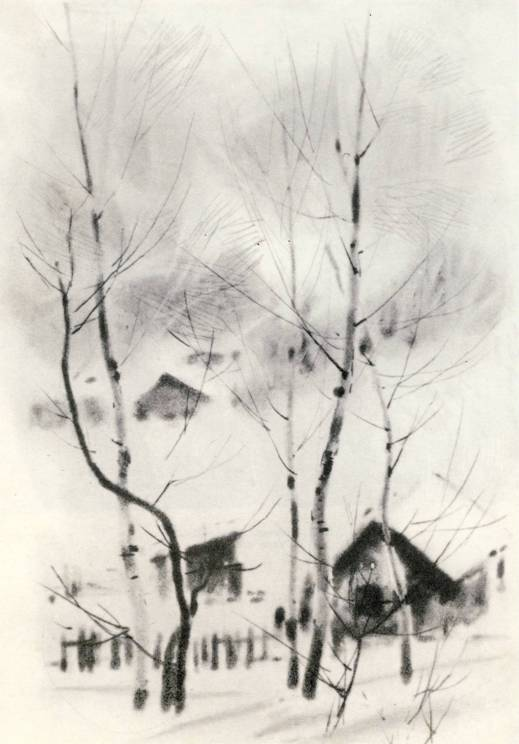 В. М. Звонцов, «Пуховая зима», лавис, сухая игла.