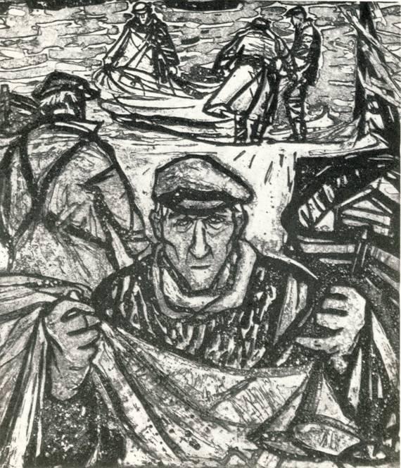 В. В. Толли, «Рыбаки озера Саарема», резерваж.