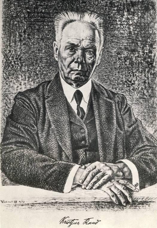 Э. Вайральт, «Портрет художника К. Рауда», сухая игла.