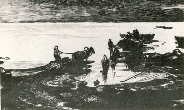 А. Ф. Кютт. «Чудское озеро», сухая игла.