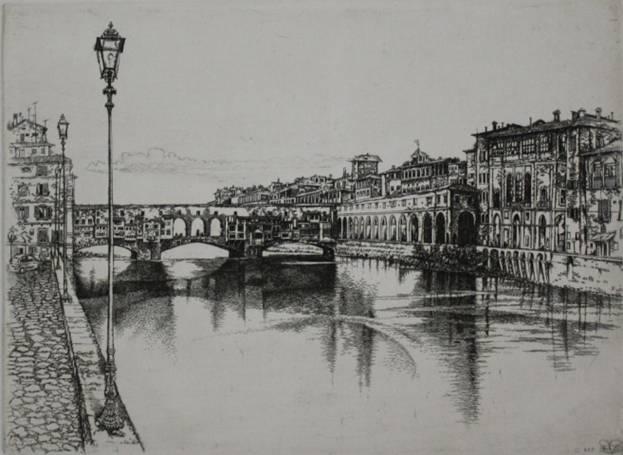 Никиреев С. М. «Флоренция. Понте Веккьо», офорт, травленый штрих.